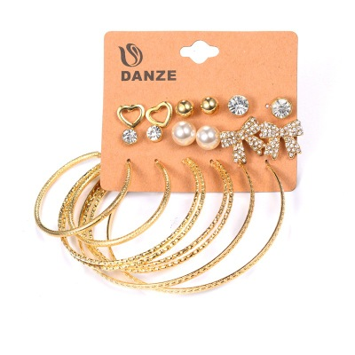 Simulated Pearl Clip Cuff Earring Set For Women Vintage Punk Gold Silver Color Crystal Earrings Party Jewelry 9 Pairs/Set